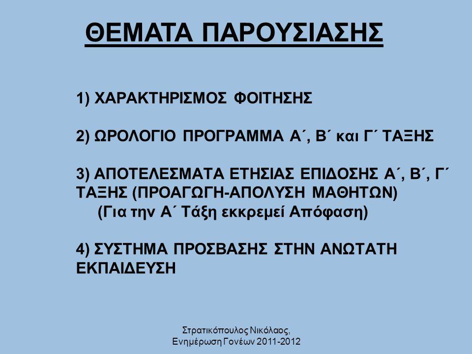 Τμήμα για εισαγωγή στο οποίο απαιτείται εξέταση σε τρία από τα εξής τέσσερα αγωνίσματα ΔΡΟΜΟΣ 400 μ.