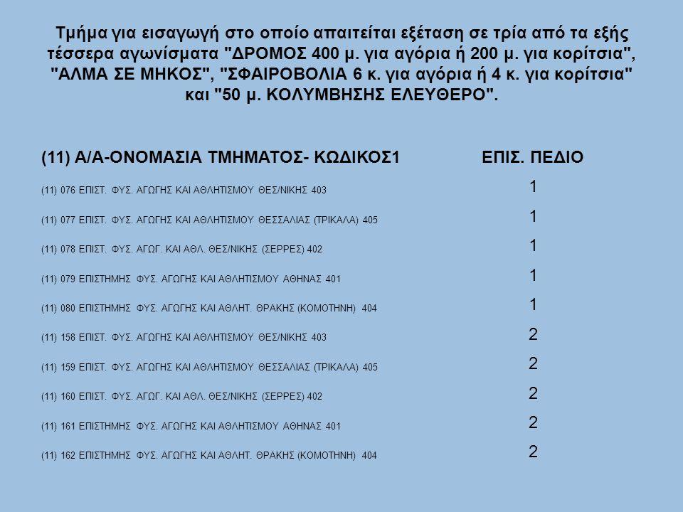 Τμήμα για εισαγωγή στο οποίο απαιτείται εξέταση σε τρία από τα εξής τέσσερα αγωνίσματα