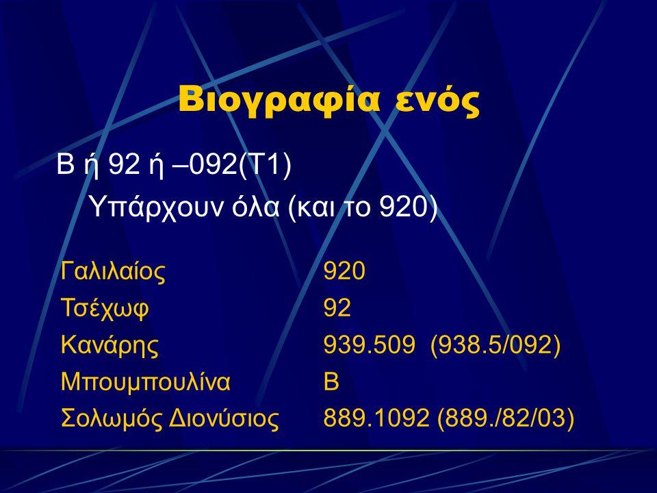 Βιογραφία ενός Β ή 92 ή –092(Τ1) Υπάρχουν όλα (και το 920) Γαλιλαίος920 Τσέχωφ92 Κανάρης939.509 (938.5/092) ΜπουμπουλίναΒ Σολωμός Διονύσιος889.1092 (8