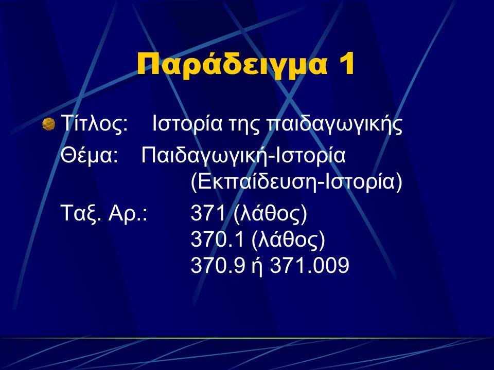 Παράδειγμα 1 Τίτλος: Ιστορία της παιδαγωγικής Θέμα:Παιδαγωγική-Ιστορία (Εκπαίδευση-Ιστορία) Ταξ. Αρ.: 371 (λάθος) 370.1 (λάθος) 370.9 ή 371.009
