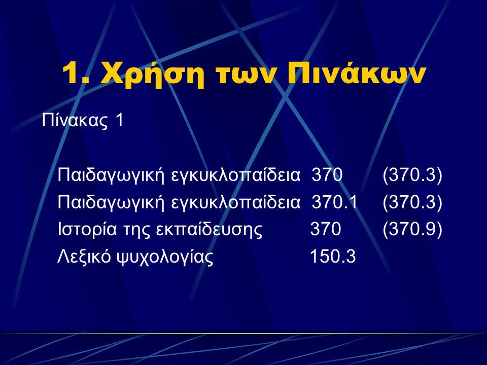 1. Χρήση των Πινάκων Πίνακας 1 Παιδαγωγική εγκυκλοπαίδεια 370(370.3) Παιδαγωγική εγκυκλοπαίδεια 370.1(370.3) Ιστορία της εκπαίδευσης 370 (370.9) Λεξικ