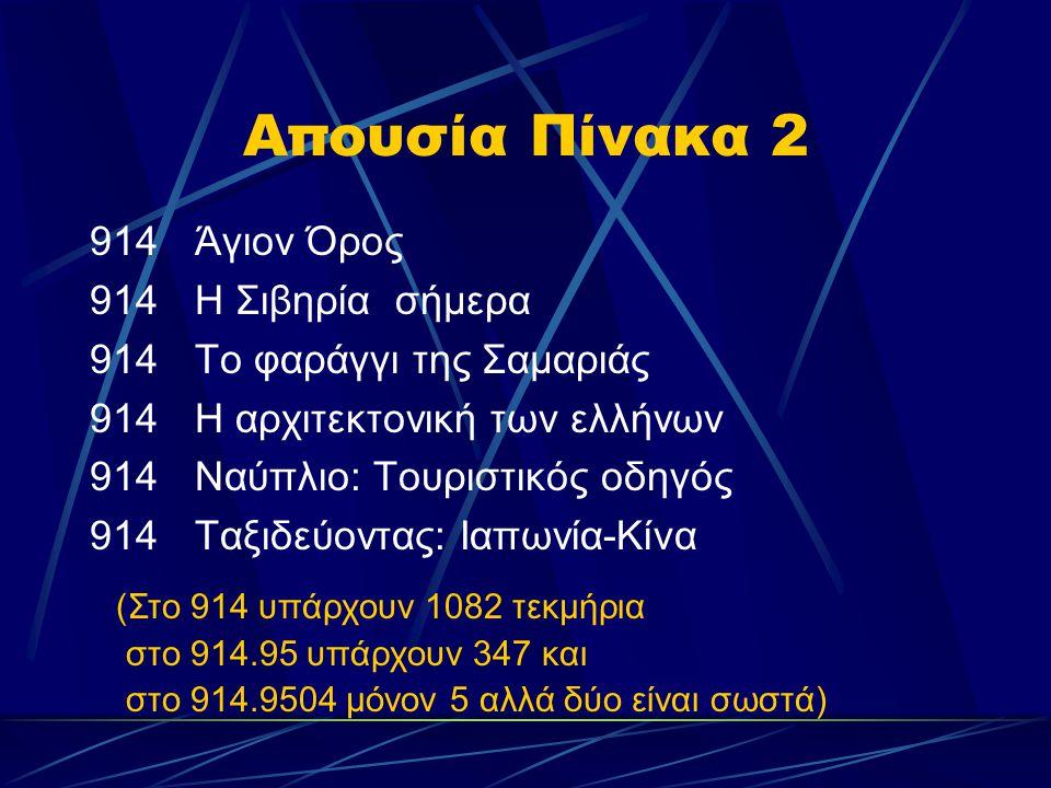 Απουσία Πίνακα 2 914Άγιον Όρος 914Η Σιβηρία σήμερα 914Το φαράγγι της Σαμαριάς 914Η αρχιτεκτονική των ελλήνων 914Ναύπλιο: Τουριστικός οδηγός 914Ταξιδεύ