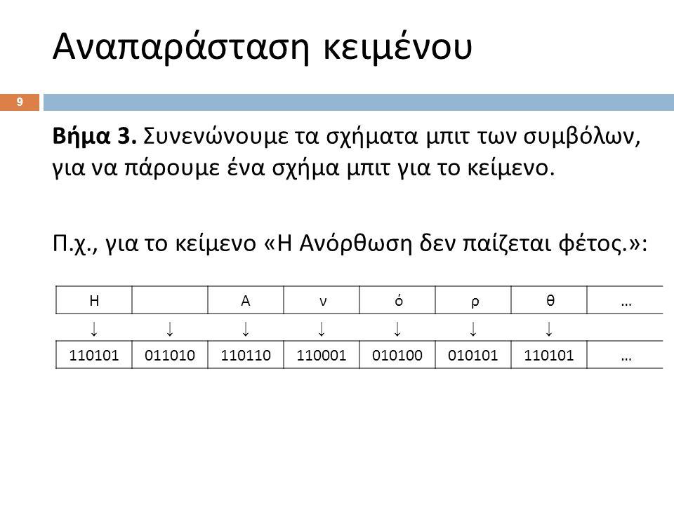 Αναπαράσταση κειμένου 9 Βήμα 3.