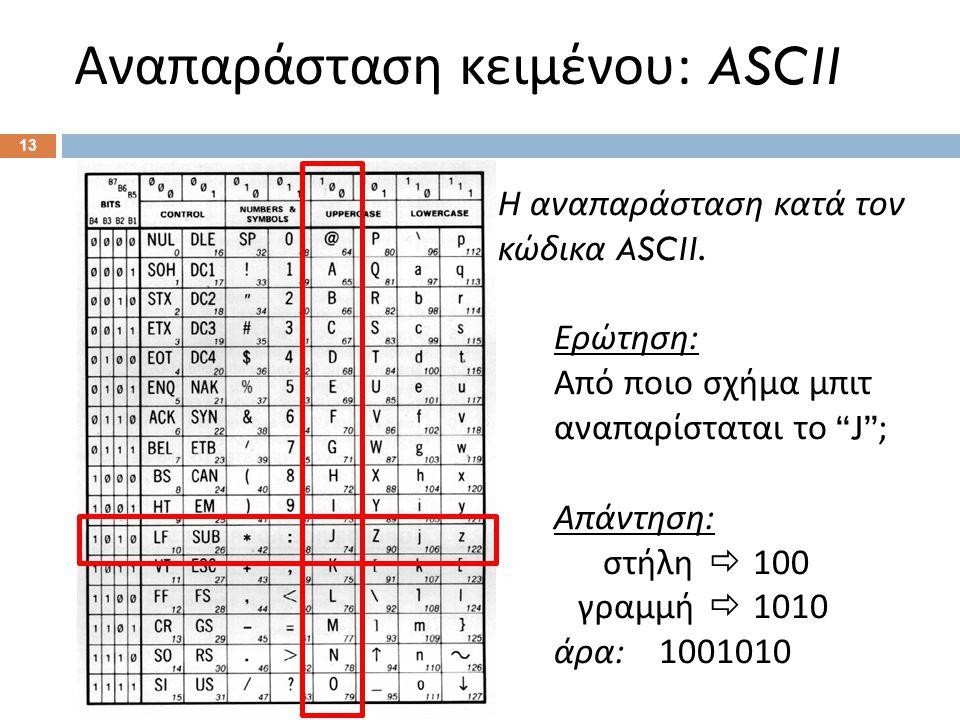 Αναπαράσταση κειμένου : ASCII 13 Η αναπαράσταση κατά τον κώδικα ASCII.