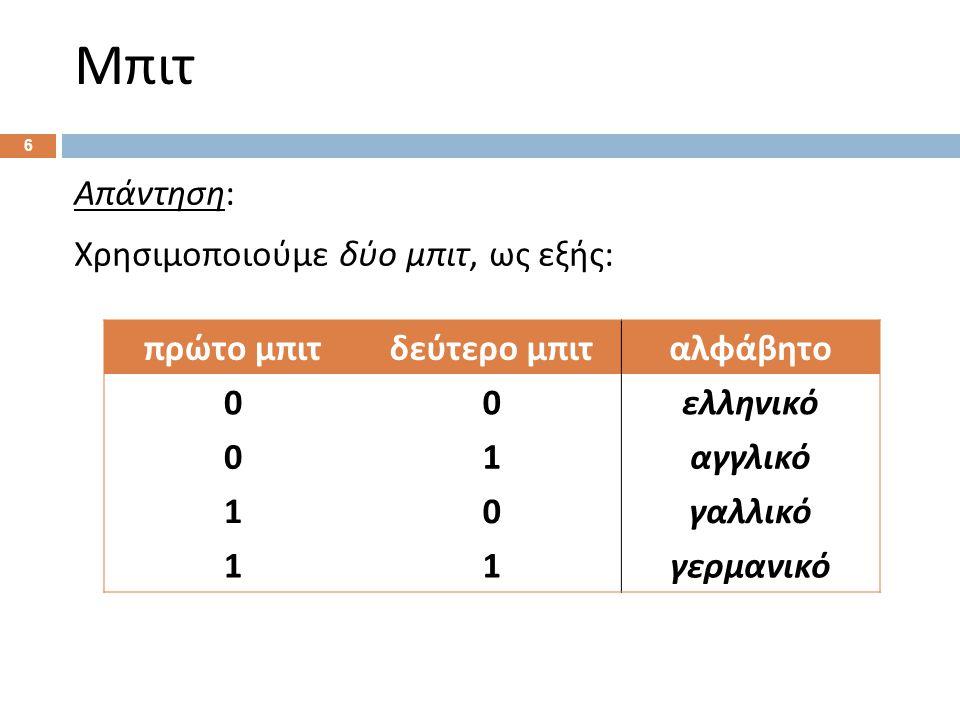 6 Απάντηση : Χρησιμοποιούμε δύο μπιτ, ως εξής : 5 πρώτο μπιτδεύτερο μπιταλφάβητο 00 ελληνικό 01 αγγλικό 10 γαλλικό 11 γερμανικό