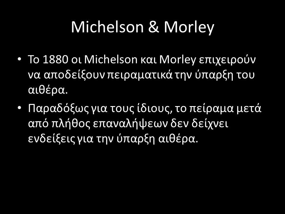 Michelson & Morley Το 1880 οι Michelson και Morley επιχειρούν να αποδείξουν πειραματικά την ύπαρξη του αιθέρα. Παραδόξως για τους ίδιους, το πείραμα μ