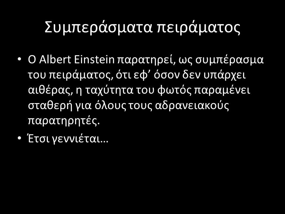 Συμπεράσματα πειράματος Ο Albert Einstein παρατηρεί, ως συμπέρασμα του πειράματος, ότι εφ' όσον δεν υπάρχει αιθέρας, η ταχύτητα του φωτός παραμένει στ