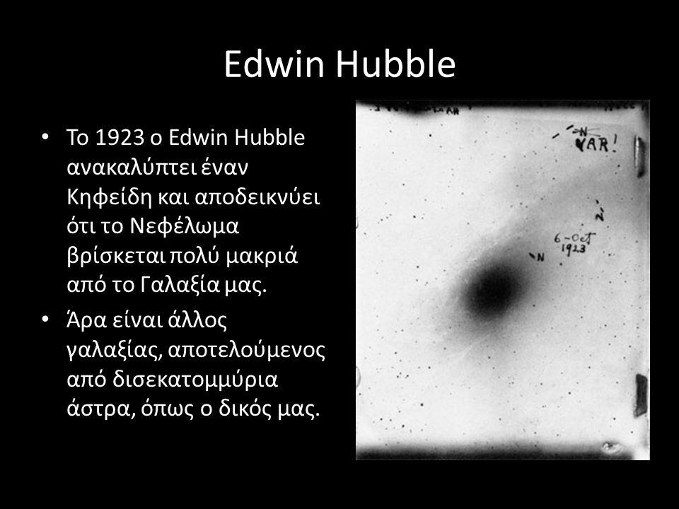 Edwin Hubble Το 1923 ο Edwin Hubble ανακαλύπτει έναν Κηφείδη και αποδεικνύει ότι το Νεφέλωμα βρίσκεται πολύ μακριά από το Γαλαξία μας. Άρα είναι άλλος