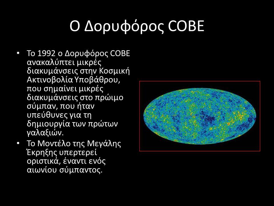 Ο Δορυφόρος COBE Το 1992 ο Δορυφόρος COBE ανακαλύπτει μικρές διακυμάνσεις στην Κοσμική Ακτινοβολία Υποβάθρου, που σημαίνει μικρές διακυμάνσεις στο πρώ