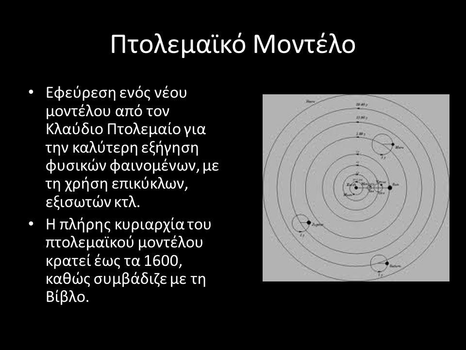 Πτολεμαϊκό Μοντέλο Εφεύρεση ενός νέου μοντέλου από τον Κλαύδιο Πτολεμαίο για την καλύτερη εξήγηση φυσικών φαινομένων, με τη χρήση επικύκλων, εξισωτών