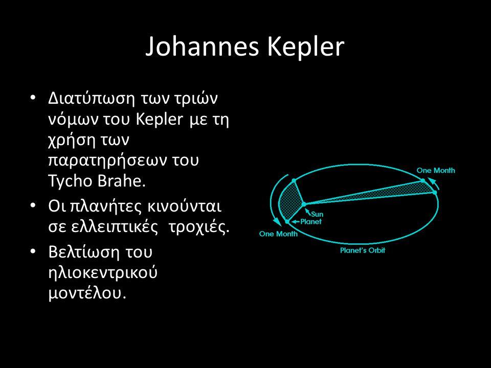 Johannes Kepler Διατύπωση των τριών νόμων του Kepler με τη χρήση των παρατηρήσεων του Tycho Brahe. Οι πλανήτες κινούνται σε ελλειπτικές τροχιές. Βελτί