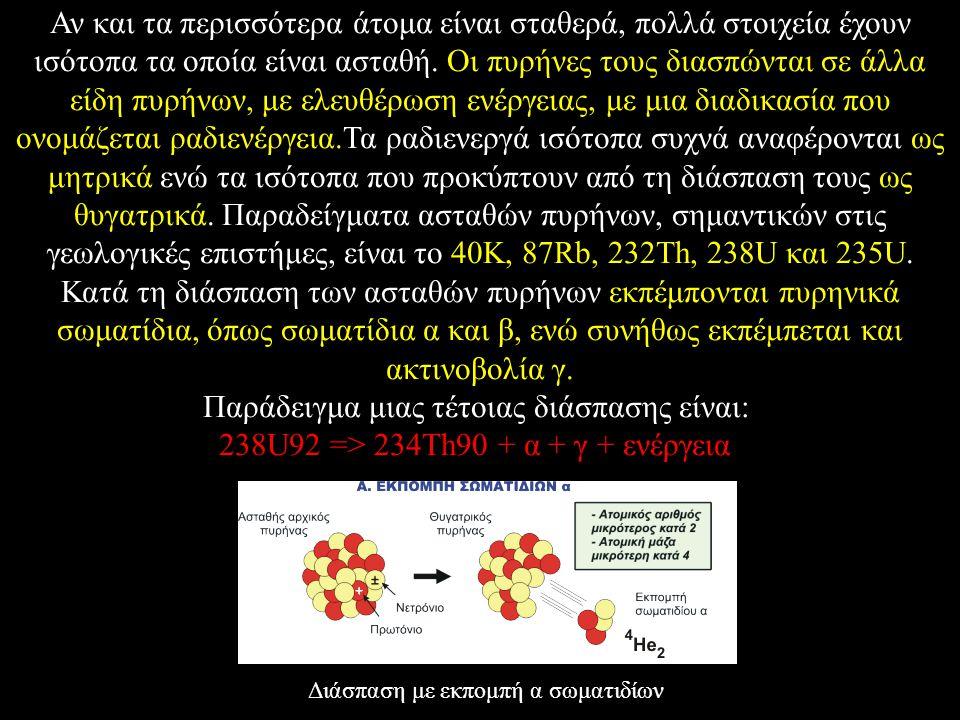 Αν και τα περισσότερα άτομα είναι σταθερά, πολλά στοιχεία έχουν ισότοπα τα οποία είναι ασταθή. Οι πυρήνες τους διασπώνται σε άλλα είδη πυρήνων, με ελε