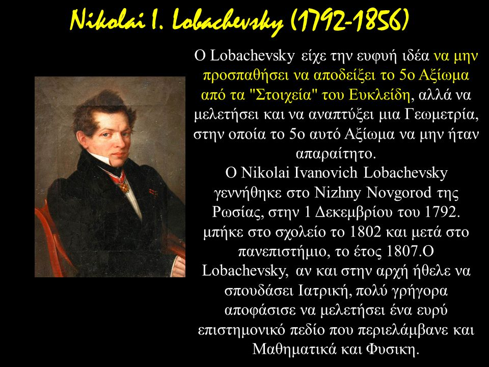 Nikolai I. Lobachevsky (1792-1856) Ο Lobachevsky είχε την ευφυή ιδέα να μην προσπαθήσει να αποδείξει το 5ο Αξίωμα από τα