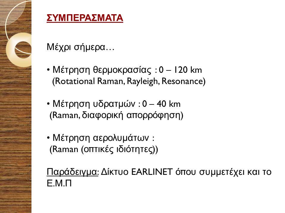 ΣΥΜΠΕΡΑΣΜΑΤΑ Μέχρι σήμερα … Μέτρηση θερμοκρασίας : 0 – 120 km (Rotational Raman, Rayleigh, Resonance) Μέτρηση υδρατμών : 0 – 40 km (Raman, διαφορική α