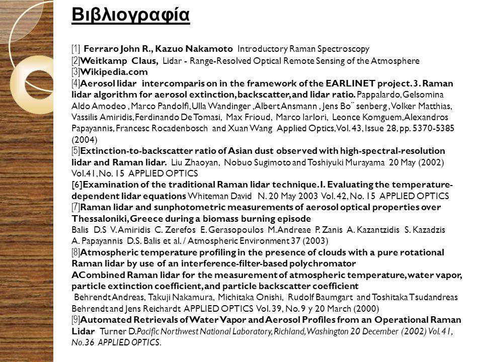 Βιβλιογραφία [1] Ferraro John R., Kazuo Nakamoto Introductory Raman Spectroscopy [2] Weitkamp Claus, Lidar - Range-Resolved Optical Remote Sensing of