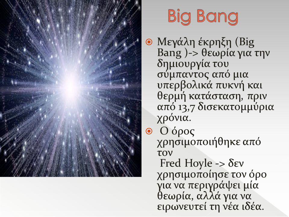  Μεγάλη έκρηξη (Big Bang )-> θεωρία για την δημιουργία του σύμπαντος από μια υπερβολικά πυκνή και θερμή κατάσταση, πριν από 13,7 δισεκατομμύρια χρόνια.