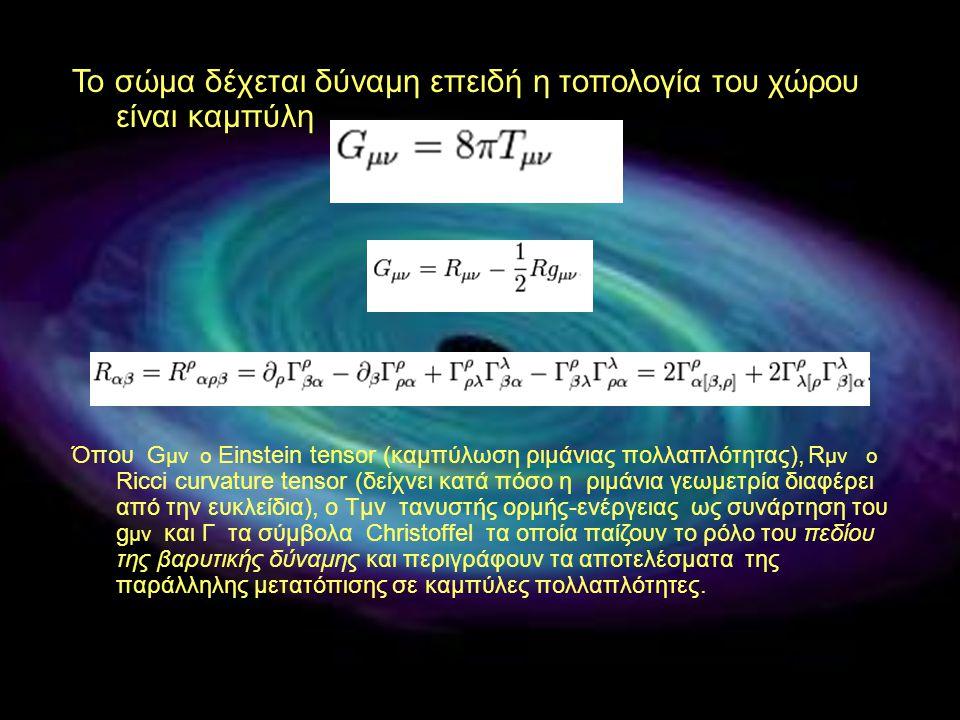 Το σώμα δέχεται δύναμη επειδή η τοπολογία του χώρου είναι καμπύλη Όπου G μν ο Einstein tensor (καμπύλωση ριμάνιας πολλαπλότητας), R μν ο Ricci curvatu