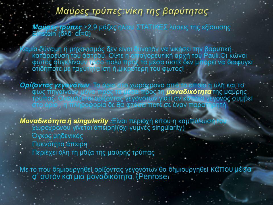 o Μαύρες τρύπες >2,9 μάζες ηλίου ΣΤΑΤΙΚΕΣ λύσεις της εξίσωσης Einstein (δλδ dt=0) Καμία δύναμη ή μηχανισμός δεν είναι δυνατόν να νικήσει την βαρυτική