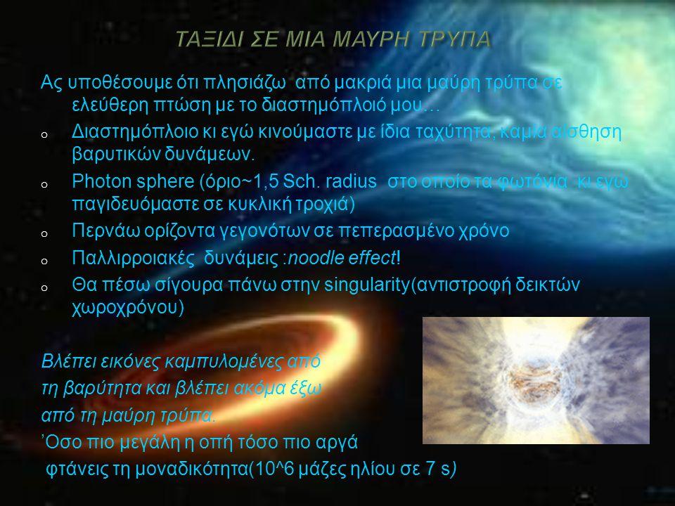 Ας υποθέσουμε ότι πλησιάζω από μακριά μια μαύρη τρύπα σε ελεύθερη πτώση με το διαστημόπλοιό μου… o Διαστημόπλοιο κι εγώ κινούμαστε με ίδια ταχύτητα, κ