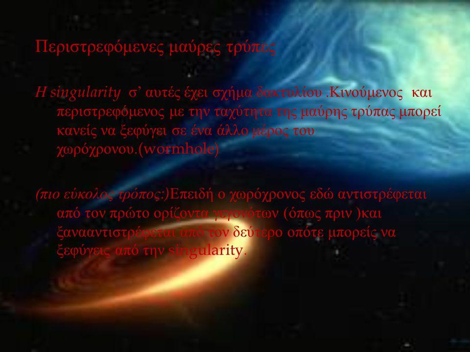Περιστρεφόμενες μαύρες τρύπες Η singularity σ ' αυτές έχει σχήμα δακτυλίου. Κινούμενος και περιστρεφόμενος με την ταχύτητα της μαύρης τρύπας μπορεί κα