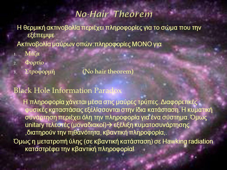 Η θερμική ακτινοβολία περιέχει πληροφορίες για το σώμα που την εξέπεμψε Ακτινοβολία μαύρων οπών:πληροφορίες ΜΟΝΟ για 1. Μάζα 2. Φορτίο 3. Στροφορμή (N
