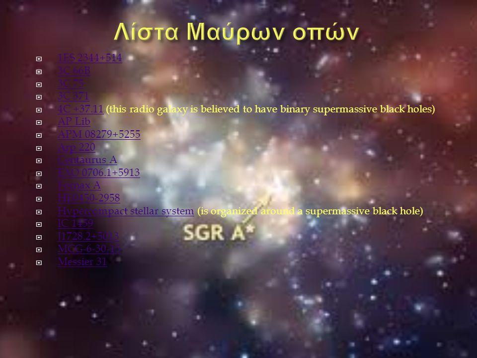  1ES 2344+514 1ES 2344+514  3C 66B 3C 66B  3C 75 3C 75  3C 371 3C 371  4C +37.11 (this radio galaxy is believed to have binary supermassive black