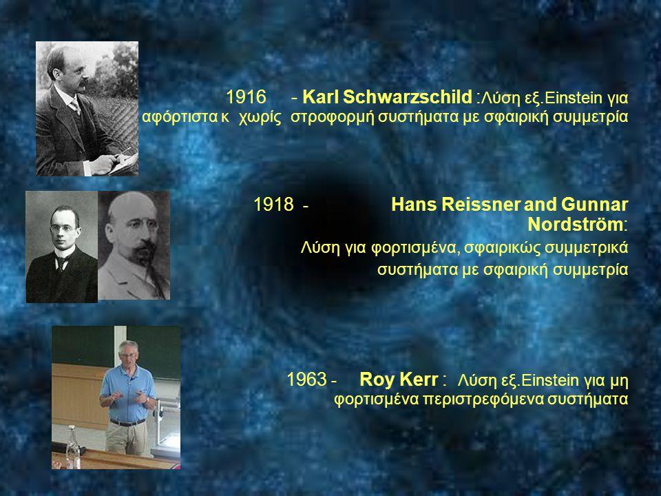  1916 - Karl Schwarzschild : Λύση εξ.Einstein για αφόρτιστα κ χωρίς στροφορμή συστήματα με σφαιρική συμμετρία  1918 - Hans Reissner and Gunnar Nords