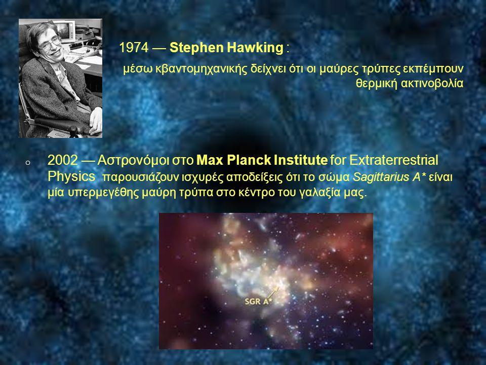 o 1974 — Stephen Hawking : o μέσω κβαντομηχανικής δείχνει ότι οι μαύρες τρύπες εκπέμπουν θερμική ακτινοβολία o 2002 — Αστρονόμοι στο Max Planck Instit
