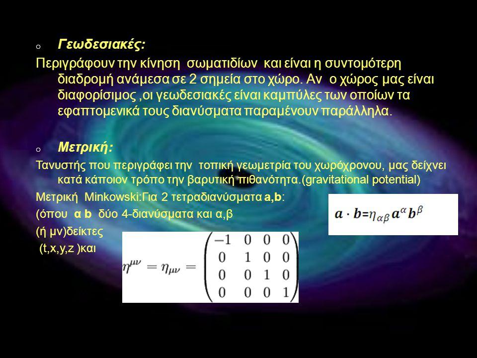 o Γεωδεσιακές: Περιγράφουν την κίνηση σωματιδίων και είναι η συντομότερη διαδρομή ανάμεσα σε 2 σημεία στο χώρο. Αν ο χώρος μας είναι διαφορίσιμος,οι γ