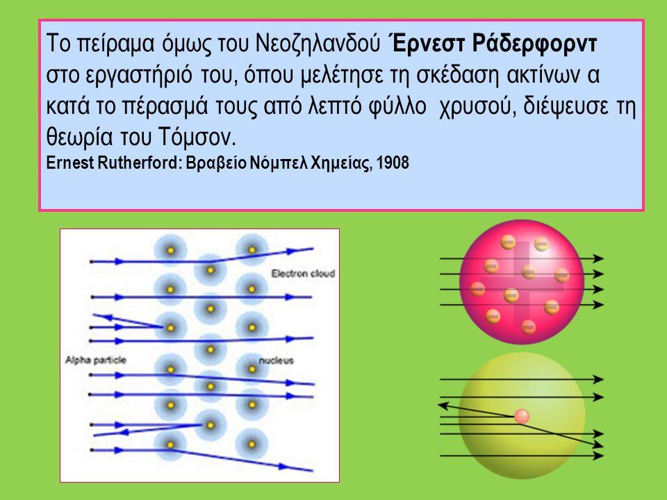 Το πείραμα όμως του Νεοζηλανδού Έρνεστ Ράδερφορντ στο εργαστήριό του, όπου μελέτησε τη σκέδαση ακτίνων α κατά το πέρασμά τους από λεπτό φύλλο χρυσού,