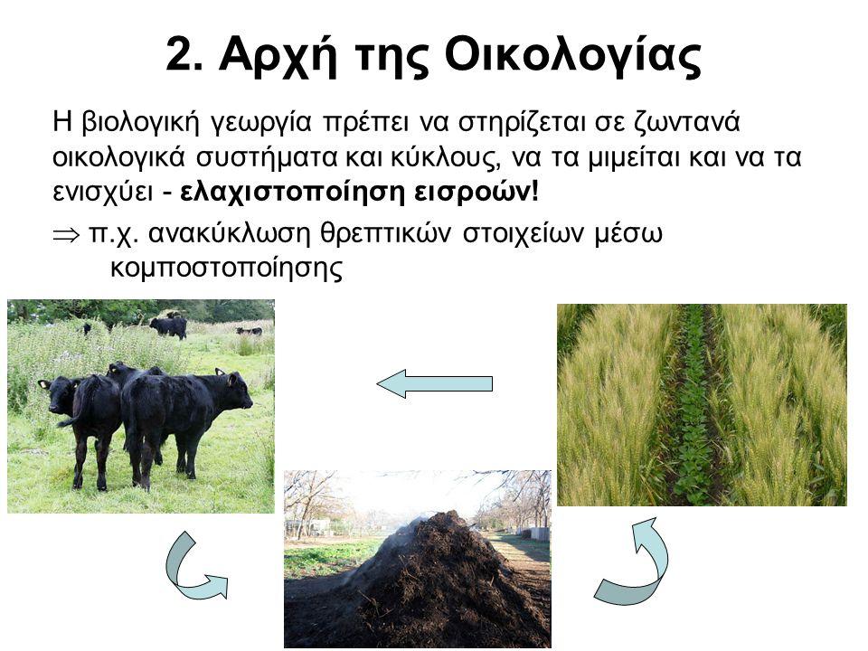 2. Αρχή της Οικολογίας Η βιολογική γεωργία πρέπει να στηρίζεται σε ζωντανά οικολογικά συστήματα και κύκλους, να τα μιμείται και να τα ενισχύει - ελαχι