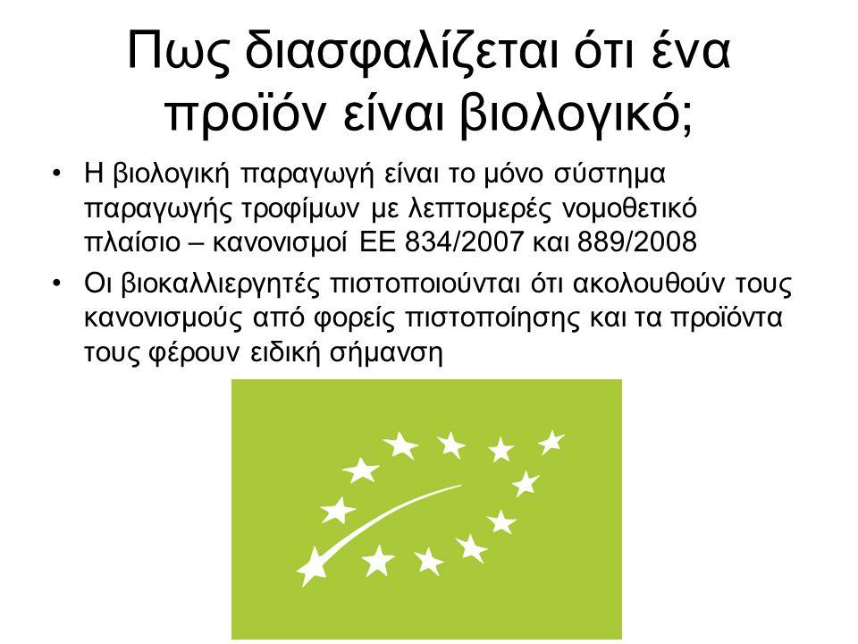 Πως διασφαλίζεται ότι ένα προϊόν είναι βιολογικό; Η βιολογική παραγωγή είναι το μόνο σύστημα παραγωγής τροφίμων με λεπτομερές νομοθετικό πλαίσιο – κανονισμοί ΕΕ 834/2007 και 889/2008 Οι βιοκαλλιεργητές πιστοποιούνται ότι ακολουθούν τους κανονισμούς από φορείς πιστοποίησης και τα προϊόντα τους φέρουν ειδική σήμανση