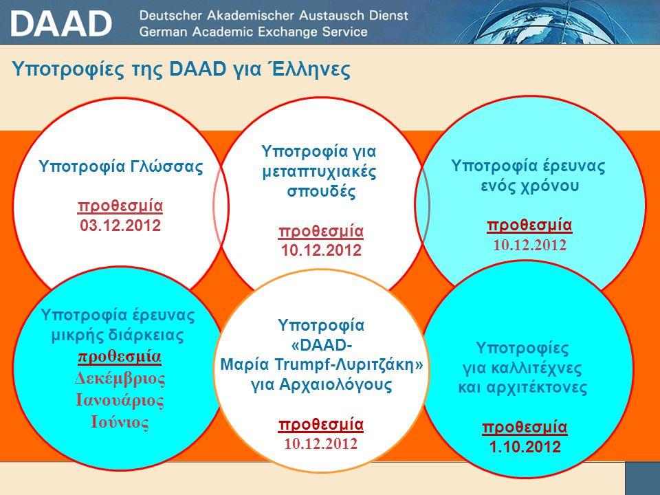 Υποτροφίες της DAAD για Έλληνες Υποτροφία για μεταπτυχιακές σπουδές προθεσμία 10.12.2012 Υποτροφία έρευνας ενός χρόνου προθεσμία 10.12.2012 Υποτροφία Γλώσσας προθεσμία 03.12.2012 Yποτροφία έρευνας μικρής διάρκειας προθεσμία Δεκέμβριος Iανουάριος Ιούνιος Υποτροφίες για καλλιτέχνες και αρχιτέκτονες προθεσμία 1.10.2012 Υποτροφία «DAAD- Μαρία Trumpf-Λυριτζάκη» για Αρχαιολόγους προθεσμία 10.12.2012