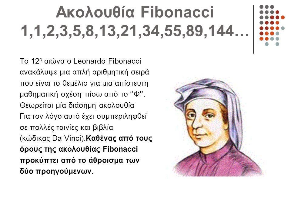 Ακολουθία Fibonacci 1,1,2,3,5,8,13,21,34,55,89,144… Το 12 ο αιώνα ο Leonardo Fibonacci ανακάλυψε μια απλή αριθμητική σειρά που είναι το θεμέλιο για μι