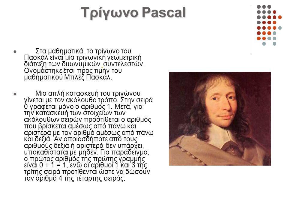 Τρίγωνο Pascal Στα μαθηματικά, το τρίγωνο του Πασκάλ είναι μία τριγωνική γεωμετρική διάταξη των δυωνυμικών συντελεστών. Ονομάστηκε έτσι προς τιμήν του