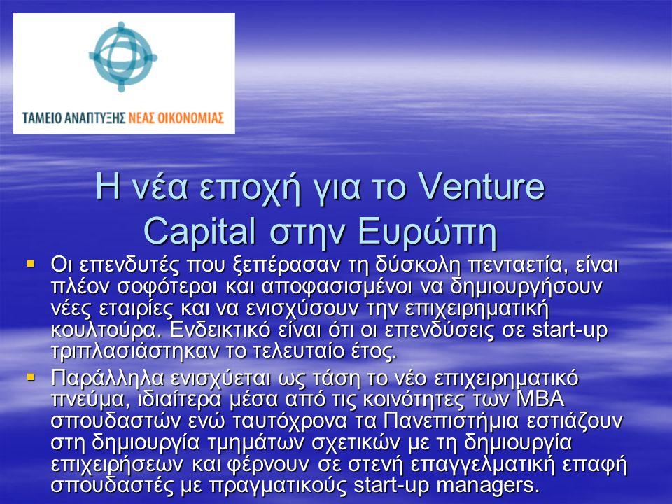 Η νέα εποχή για το Venture Capital στην Ευρώπη  Οι επενδυτές που ξεπέρασαν τη δύσκολη πενταετία, είναι πλέον σοφότεροι και αποφασισμένοι να δημιουργήσουν νέες εταιρίες και να ενισχύσουν την επιχειρηματική κουλτούρα.