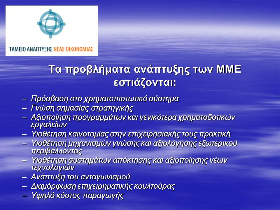Τα προβλήματα ανάπτυξης των ΜΜΕ εστιάζονται: –Πρόσβαση στο χρηματοπιστωτικό σύστημα –Γνώση σημασίας στρατηγικής –Αξιοποίηση προγραμμάτων και γενικότερα χρηματοδοτικών εργαλείων –Υιοθέτηση καινοτομίας στην επιχειρησιακής τους πρακτική –Υιοθέτηση μηχανισμών γνώσης και αξιολόγησης εξωτερικού περιβάλλοντος –Υιοθέτηση συστημάτων απόκτησης και αξιοποίησης νέων τεχνολογιών –Ανάπτυξη του ανταγωνισμού –Διαμόρφωση επιχειρηματικής κουλτούρας –Υψηλό κόστος παραγωγής