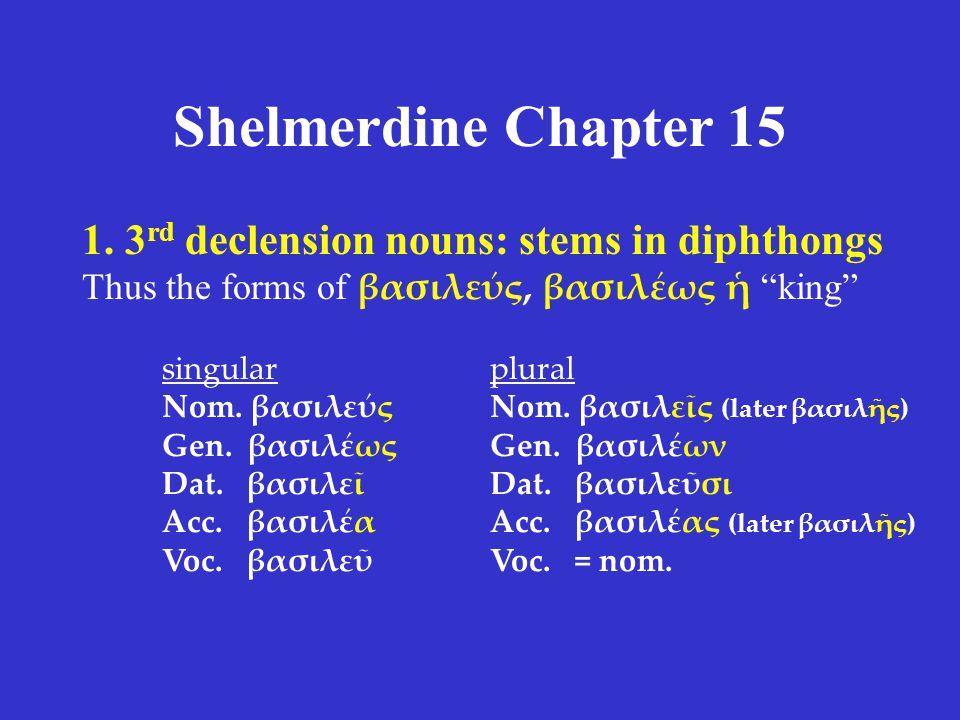 Shelmerdine Chapter 15 ACTIVE singular ἔλυον (I was loosing) ἔλυες (you were loosing) ἔλυε (s/he, it was loosing) plural ἐλύομεν (we were loosing) ἐλύετε (y'all were loosing) ἔλυον (they were loosing) PASSIVE singular ἐλυόμην (I was being loosed) ἐλύου (you were being loosed) ἐλύετο (s/he, it was being loosed) plural ἐλυόμεθα (we were being loosed) ἐλύεσθε (y'all were being loosed) ἐλύοντο (they were being loosed) imperfect tense ἐλύεσο = ἐλύ+ε+(σ)+ο  ἐλύου