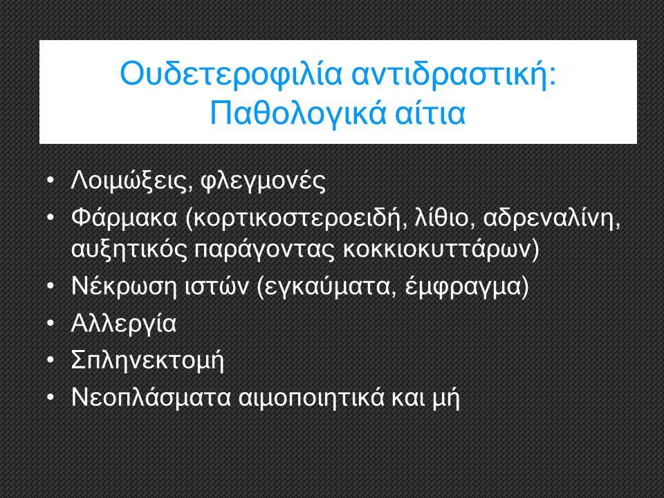 Ουδετεροφιλία αντιδραστική: Π αθολογικά αίτια Λοιμώξεις, φλεγμονές Φάρμακα (κορτικοστεροειδή, λίθιο, αδρεναλίνη, αυξητικός παράγοντας κοκκιοκυττάρων)