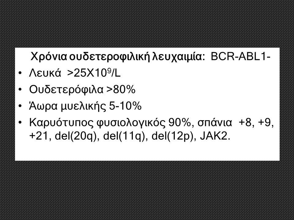 2. Χρόνια ουδετεροφιλική λευχαιμία: BCR-ABL1- Λευκά >25Χ10 9 /L Ουδετερόφιλα >80% Άωρα μυελικής 5-10% Καρυότυπος φυσιολογικός 90%, σπάνια +8, +9, +21,