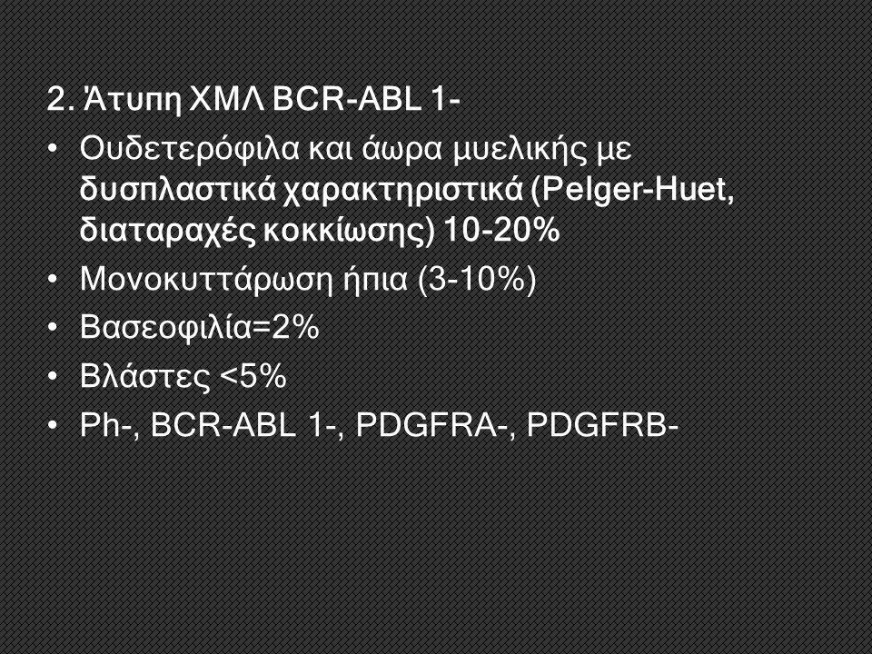 2. Άτυπη ΧΜΛ BCR-ABL 1- Ουδετερόφιλα και άωρα μυελικής με δυσπλαστικά χαρακτηριστικά (Pelger-Huet, διαταραχές κοκκίωσης) 10-20% Μονοκυττάρωση ήπια (3-