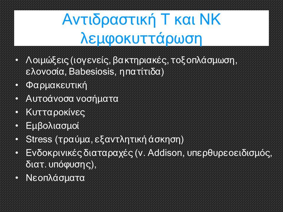 Αντιδραστική Τ και ΝΚ λεμφοκυττάρωση Λοιμώξεις (ιογενείς, βακτηριακές, τοξοπλάσμωση, ελονοσία, Babesiosis, ηπατίτιδα) Φαρμακευτική Αυτοάνοσα νοσήματα