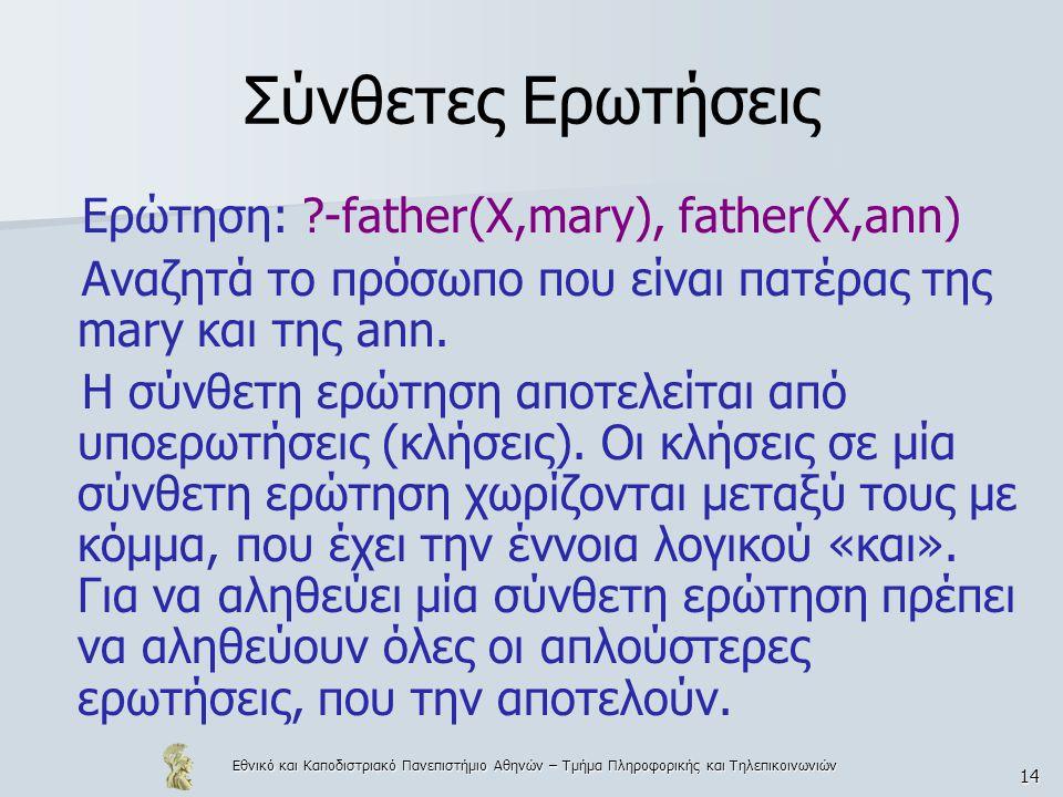 Εθνικό και Καποδιστριακό Πανεπιστήμιο Αθηνών – Τμήμα Πληροφορικής και Τηλεπικοινωνιών 14 Σύνθετες Ερωτήσεις Ερώτηση: ?-father(X,mary), father(X,ann) Αναζητά το πρόσωπο που είναι πατέρας της mary και της ann.
