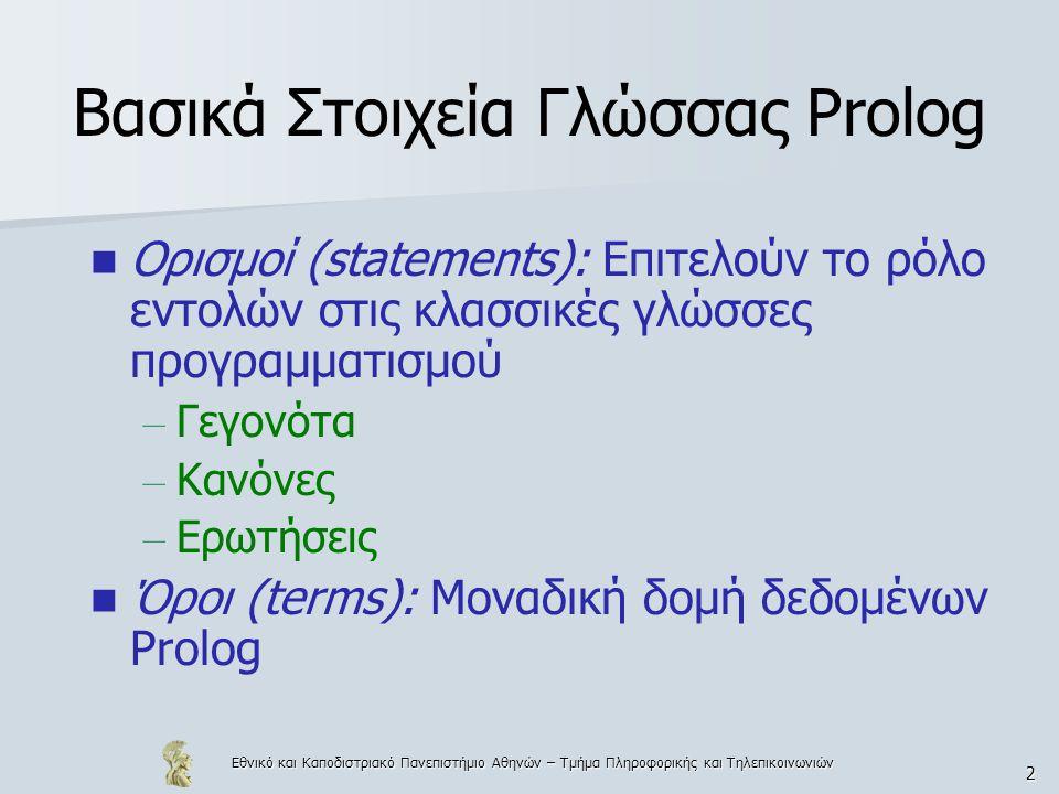 Εθνικό και Καποδιστριακό Πανεπιστήμιο Αθηνών – Τμήμα Πληροφορικής και Τηλεπικοινωνιών 3 Γεγονός Είναι το απλούστερο είδος ορισμού, που υποστηρίζει η Prolog Παρέχει τρόπο έκφρασης της σχέσης, που ισχύει ανάμεσα σε οντότητες