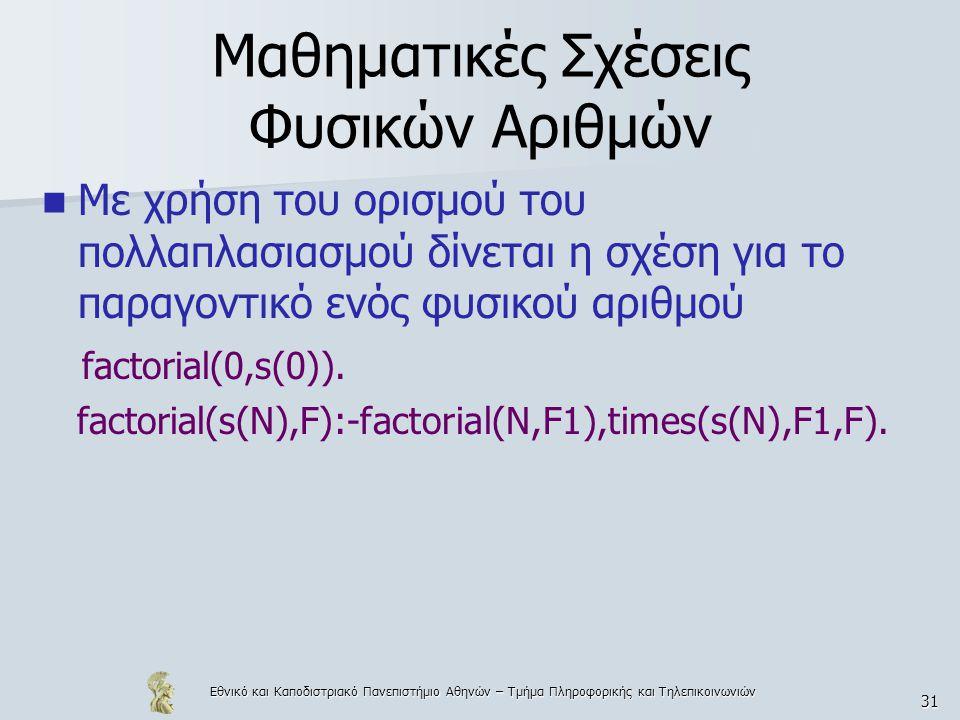 Εθνικό και Καποδιστριακό Πανεπιστήμιο Αθηνών – Τμήμα Πληροφορικής και Τηλεπικοινωνιών 31 Μαθηματικές Σχέσεις Φυσικών Αριθμών Με χρήση του ορισμού του πολλαπλασιασμού δίνεται η σχέση για το παραγοντικό ενός φυσικού αριθμού factorial(0,s(0)).