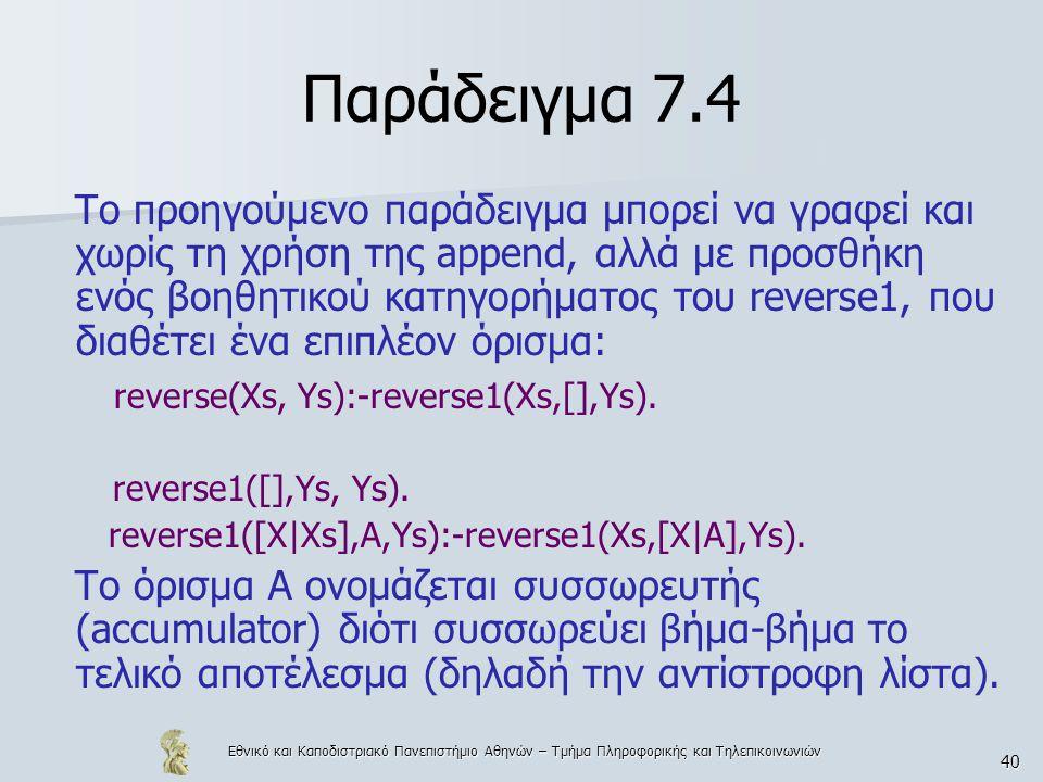 Εθνικό και Καποδιστριακό Πανεπιστήμιο Αθηνών – Τμήμα Πληροφορικής και Τηλεπικοινωνιών 40 Παράδειγμα 7.4 Το προηγούμενο παράδειγμα μπορεί να γραφεί και χωρίς τη χρήση της append, αλλά με προσθήκη ενός βοηθητικού κατηγορήματος του reverse1, που διαθέτει ένα επιπλέον όρισμα: reverse(Xs, Ys):-reverse1(Xs,[],Ys).