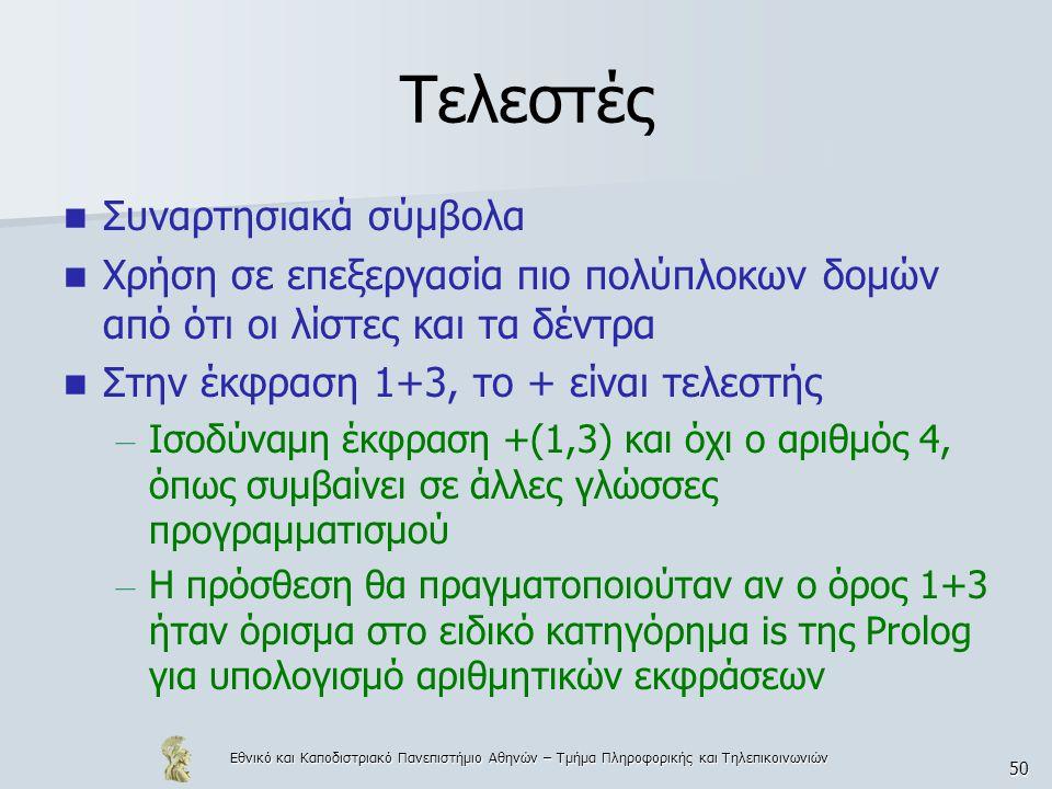 Εθνικό και Καποδιστριακό Πανεπιστήμιο Αθηνών – Τμήμα Πληροφορικής και Τηλεπικοινωνιών 50 Τελεστές Συναρτησιακά σύμβολα Χρήση σε επεξεργασία πιο πολύπλοκων δομών από ότι οι λίστες και τα δέντρα Στην έκφραση 1+3, το + είναι τελεστής – Ισοδύναμη έκφραση +(1,3) και όχι ο αριθμός 4, όπως συμβαίνει σε άλλες γλώσσες προγραμματισμού – Η πρόσθεση θα πραγματοποιούταν αν ο όρος 1+3 ήταν όρισμα στο ειδικό κατηγόρημα is της Prolog για υπολογισμό αριθμητικών εκφράσεων