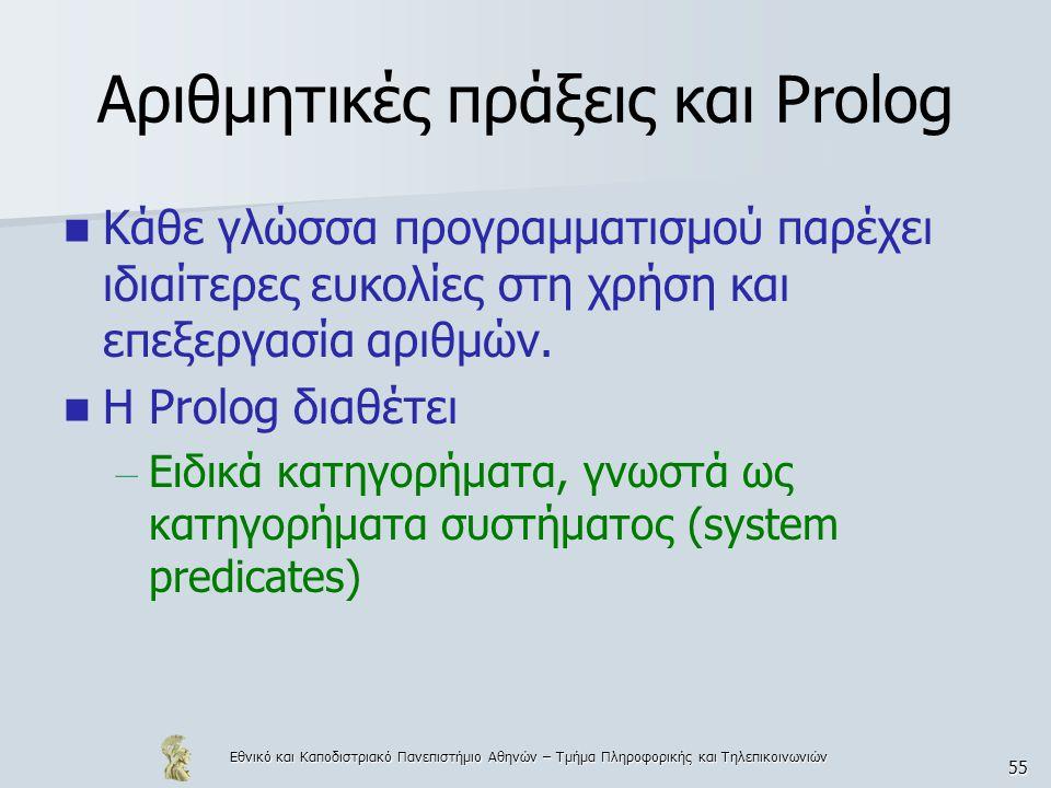 Εθνικό και Καποδιστριακό Πανεπιστήμιο Αθηνών – Τμήμα Πληροφορικής και Τηλεπικοινωνιών 55 Αριθμητικές πράξεις και Prolog Κάθε γλώσσα προγραμματισμού παρέχει ιδιαίτερες ευκολίες στη χρήση και επεξεργασία αριθμών.