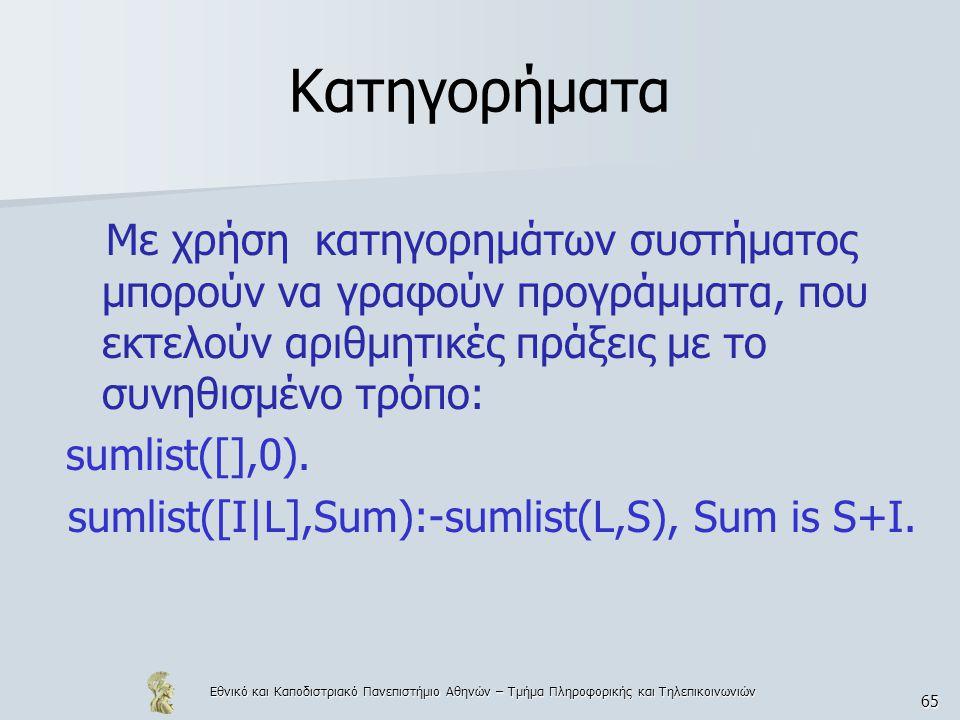Εθνικό και Καποδιστριακό Πανεπιστήμιο Αθηνών – Τμήμα Πληροφορικής και Τηλεπικοινωνιών 65 Κατηγορήματα Με χρήση κατηγορημάτων συστήματος μπορούν να γραφούν προγράμματα, που εκτελούν αριθμητικές πράξεις με το συνηθισμένο τρόπο: sumlist([],0).