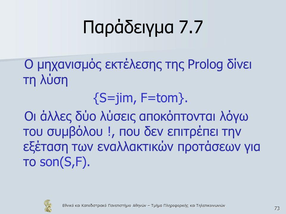 Εθνικό και Καποδιστριακό Πανεπιστήμιο Αθηνών – Τμήμα Πληροφορικής και Τηλεπικοινωνιών 73 Παράδειγμα 7.7 Ο μηχανισμός εκτέλεσης της Prolog δίνει τη λύση {S=jim, F=tom}.